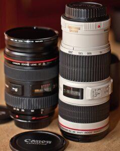 Objectifs photo professionnels Canon 2470mm et 70200mm